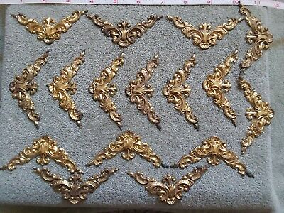 "antique victorian era/style ""trimmings"" lot of 16-tin/gold gilt-N O S"