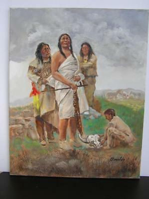 "Orig Oil Painting of Native Indian Chief 16"" x 20"" on canvas Laguna ESTATE!"