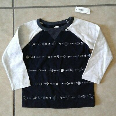 Old Navy Boys 12-18 Months Black Gray Planets Space Long Sleeve Shirt