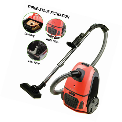 Ovente Canister Vacuum with Tri-Level Filtration: Dust Bag, Outlet HEPA Filter,