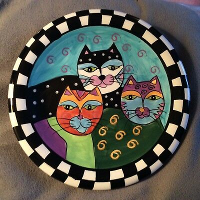 Milson And Louis Cat  Plate Hand Painted 3 Cats Colorful! 8 Inches New