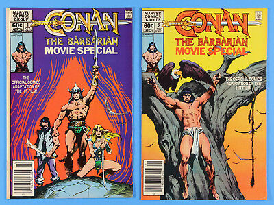 CONAN the BARBARIAN Movie Special # 1 and 2, Marvel Comics 1982 Free Bags/Boards