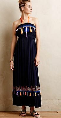 20b80b3561c27 New ANTHROPOLOGIE by Skemo Strapless Tasseled Maxi Dress $168.00 Size Small