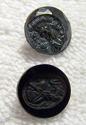 Lot of (2) Two Antique Black Glass Buttons Cameo Roman & Greek Portraits AF