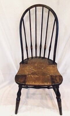 Antique Windsor Bow Back Side Chair With Rush Seat Worn Black Paint Nice Patina