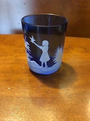 antique Mary Gregory Cobalt Blue Glass Tumbler Cup Girl With Bird collectible