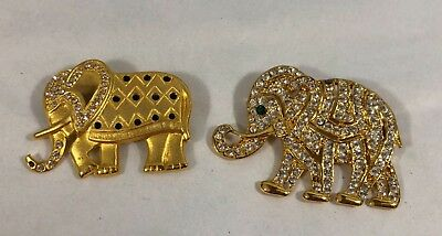 Gold Tone Rhinestones Elephant Brooches Repair Crafts Collectibles