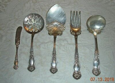 5 Antique Wm Rogers IS Silverplate Serving Pieces ORANGE BLOSSOM 1910 *Nice*