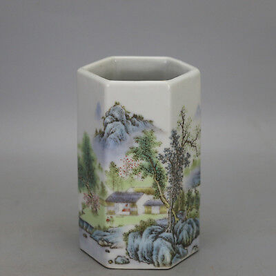 China old porcelain famille rose glaze landscape pattern hexagonal brush pot c02