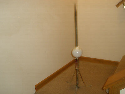"""Antique Copper Lightning Rod 37"""" with White Milk Glass Ball & Tripod Stand"""