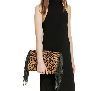 1472084fa8db Polo Ralph Lauren Leopard Haircalf Clutch Bag New 398  Leather Fringe