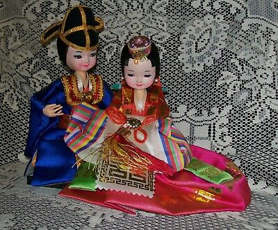 Vintage Asian International Costume Doll Pair / Couple On Base