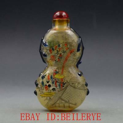Antique Chinese Glass Internal Hand-painted People Landscape Gourd Snuff Bottles