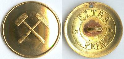 Knopf Bergbau Deutsches Kaiserreich um 1910 Uniform button bottone 22mm vergold.
