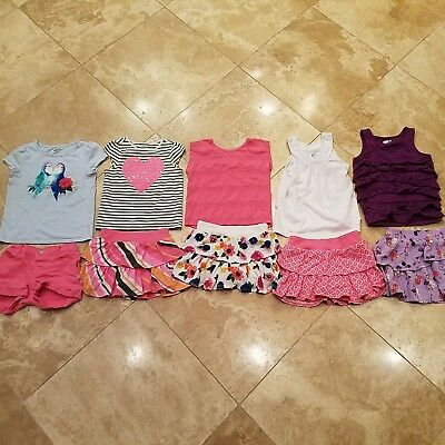 Girls Crazy 8 Tops and Skorts Outfits Size 4 XS Lot (10)