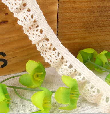 DIY 10 yards Cotton Lace Trim Wedding Bridal Ribbon Sewing sock decoration14mm
