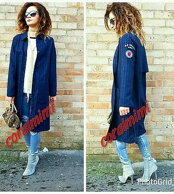 Zara NEW NAVY BLUE OVERSHIRT STRIPED WOOL LONG COAT SIZE S
