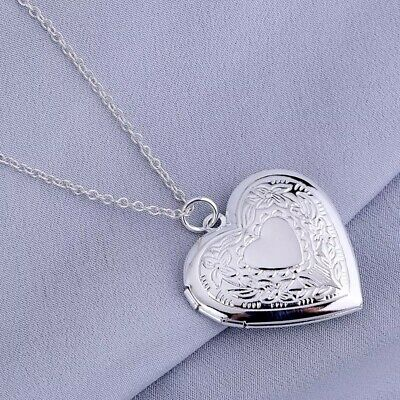 """925 Sterling Silver Heart Necklace, Locket Photo Pendant 18"""" Link Or Snake Chain"""