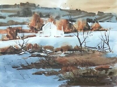 Robert Brubaker Ohio Artist Vtg Signed Orig Watercolor Landscape With Farmhouse