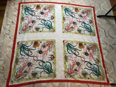 HUGE Gucci 1970s Vintage Cotton Coral Reef Square Scarf 53x53