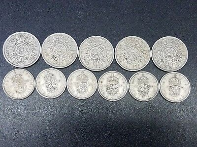 Lot of 11 UK Great Britain One, Two Shillings Coins 1953-1965  #GB21A