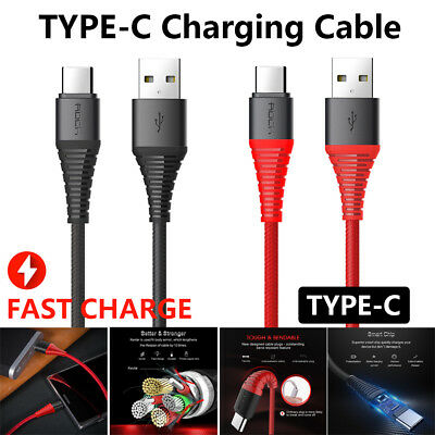 Genuine ROCK Braided USB-C Type-C Data FAST Charging Cable Samsung S8 S9 PLUS