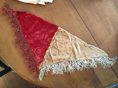 "Antique Victorian Shawl, Red And Gold Velvet With Fringe, 27"" Wide."