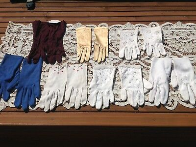 ( Small 6, 6 1/2, 7 ) Set Of 7 ~ Vintage Variety Lot Ladies Gloves Satin + More