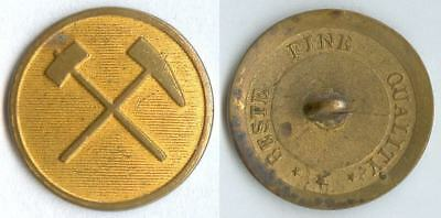 Knopf Bergbau Oberharz um 1850 Uniform button bottone 21mm gelb flach