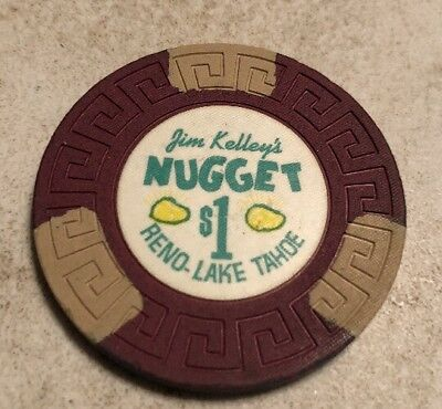 Jim Kelley's Nugget $1 Casino Chip Reno Nevada 2.99 Shipping