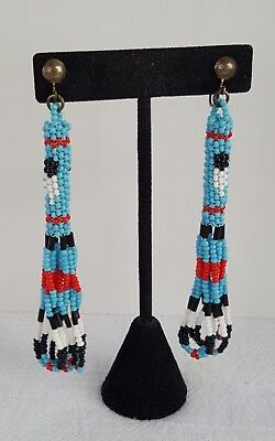 Vintage Native American Handcrafted Seed Bead Dangle Clip On Earrings