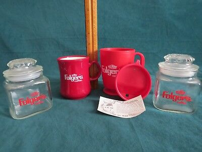 2 Small Glass Vintage Anchor Hocking Folger's Coffee Canisters & 2 Folger's Mugs
