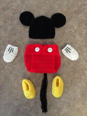Crochet newborn - 3 month Mickey Mouse hat Diaper Cover Booties Mittens Photo