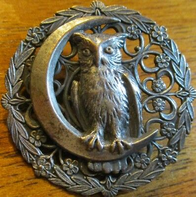 "1940s Vintage French White Metal~""OWL ON CRESCENT MOON"" 1 3/8"" Pierced Button"