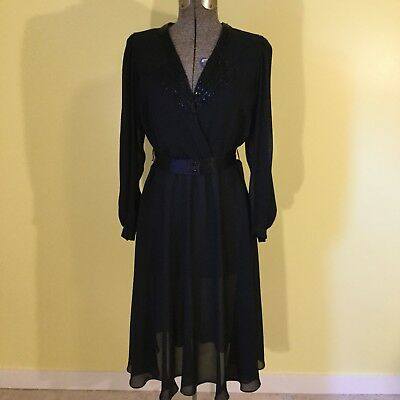 Black Cocktail Dress Beaded Vintage 1970s 1980s by Ursula of Switzerland