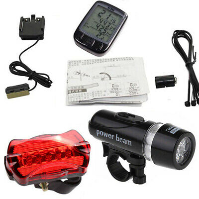 Bike Bicycle Cycling Light Front Head and Rear Tail 5 LED Lamp Light + Computer