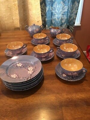 20 Pc RS SHIMIZU ROKUNOSUKO CHERRY BLOSSOMS Blue Japan LUSTERWARE Tea Set EC