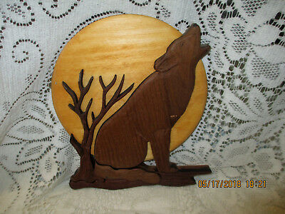 Wonderful Wood Howling Wolf By Wilcox Design In Elizabeth Pennsylvania Signed