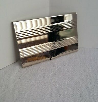 Vintage Silver Tone Snap Down Business Card Holder