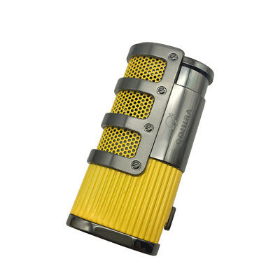 New COHIBA Butane Gas Triple Torch Flame Windproof Lighter Yellow Color