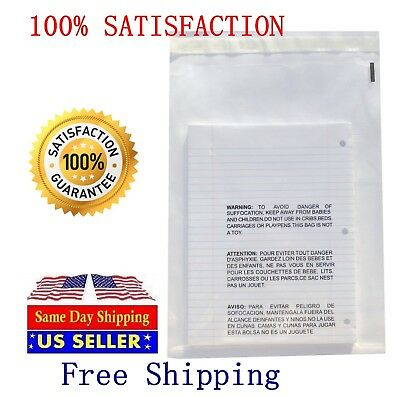 200 11x14 Clear Self Seal Lip & Tape Plastic Bags w/ Suffocation Warning Cello