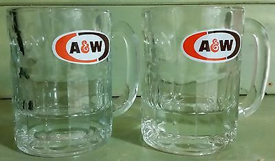 """Two ( 2 ) A & W Root Beer Glasses 4 1/4"""" Tall - VINTAGE 1968 HOT ROD / CAR SHOWS"""
