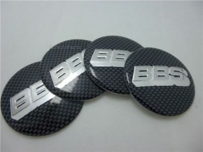 4x (Sticker Only) 65mm BBS Black/Silver Carbon Fiber Wheel Centre Cap Sticker 3D