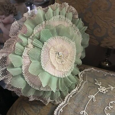 VINTAGE 1920'S LACE BOUDOIR EMBROIDERED PILLOW Mint Green Layers