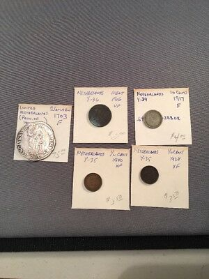 Lot Of 5 Antique And Vintage NETHERLANDS Coins Including PALLAS 1 GULDEN 1703