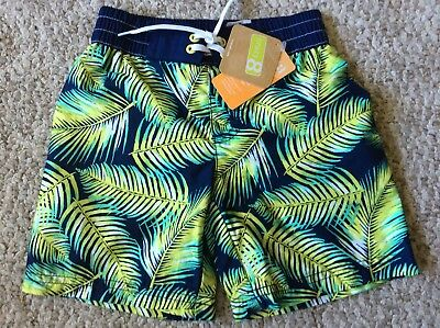 Crazy 8 Boys 4T 4 Swim Trunks Shorts Suit Navy Palm Leaves Green Yellow New NWT