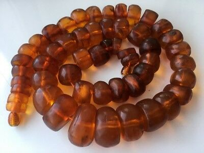 RARE! Antique OLD Amber  Vintage Butterscotch FACETED AMBER Beads Necklace !