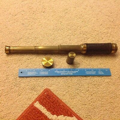antique spy glass nautical telescope, brass and leather Civil War era history