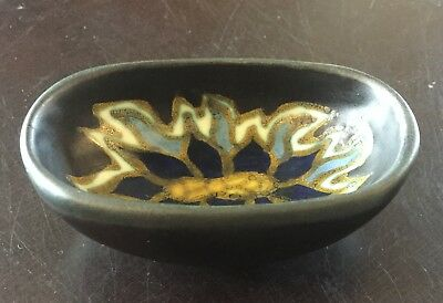 1927 Sonna Gouda Miniature Bowl, Holland Matte Black Yellow Cobalt & Light Blue