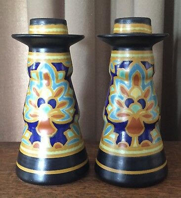 "Regina Teheran Gouda Holland Candlestick Set - 6 1/2"" Tall - Matte Black & Gold"